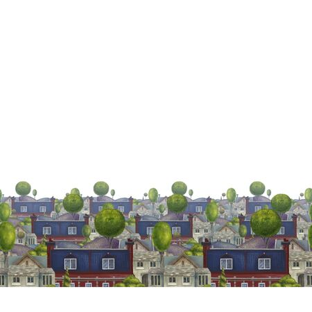 Seamless pattern with roofs of houses. Old fabulous English town. book Illustration. Zdjęcie Seryjne