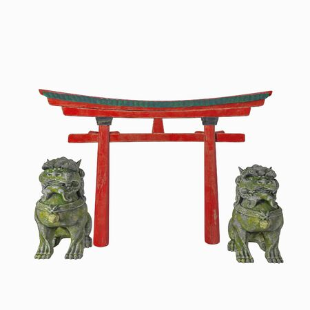 Asian architectural composition. Arch of Torii and the lions of the guardians. Isolated on white background. 3d render. China