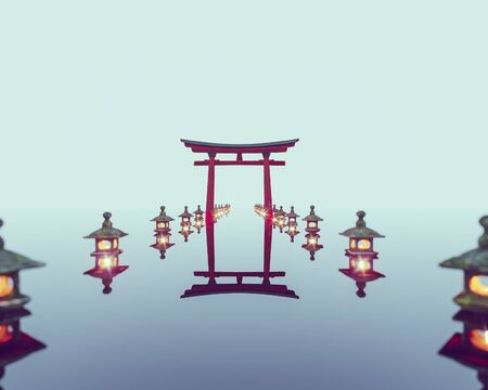 Asian landscape. The traditional arch of Torii is reflected in the lake. 3d render