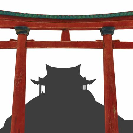 Asian composition. The silhouette of the temple and the red arch of Torii. China, Japan. Buddhism. silhouette