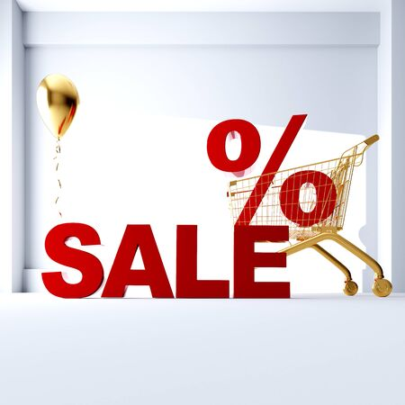 3D render the word SALE in a golden cart. Sale in the store on a white background. discount