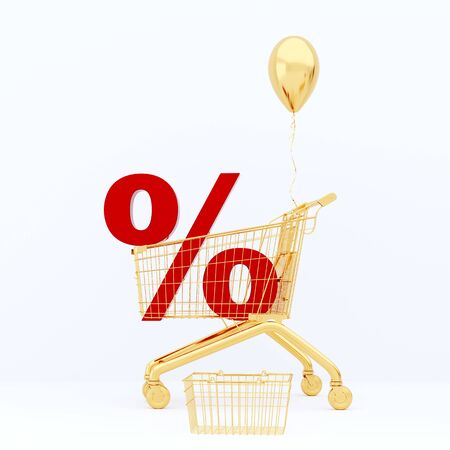 Golden balloon and red percentage inside the grocery cart. Shopping 3D render.