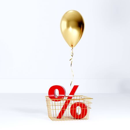 Golden balloon and red percentage inside the grocery cart. Shopping 3D render