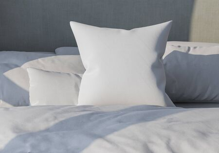 White pillow on the background of bedding. Bed made up. 3d render. lightness and sleep