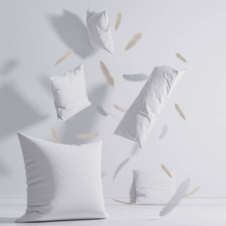 mock up white pillows. Fly around the room on the floor. Branding template. 3d render