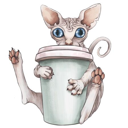The bald sphinx cat is drinking coffee. Good morning .CG illustration. Isolated on white background. Zdjęcie Seryjne