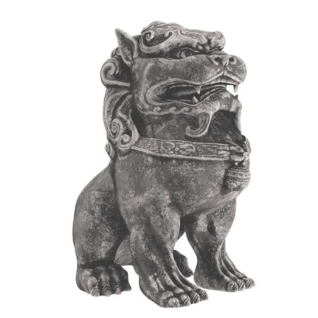 Traditional oriental stone statue. Mythical Chinese character dog lion. 3d render. isolated on white background Zdjęcie Seryjne