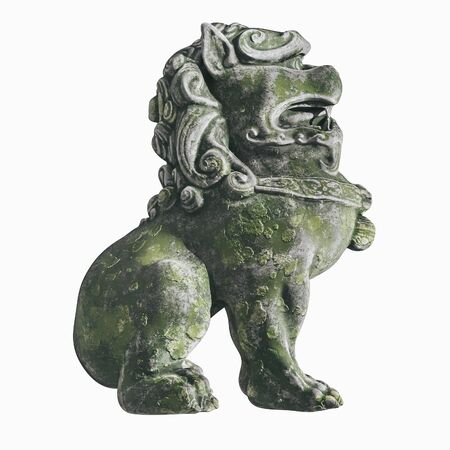 Traditional oriental stone statue. Mythical Chinese character dog lion. 3d render. isolated Zdjęcie Seryjne