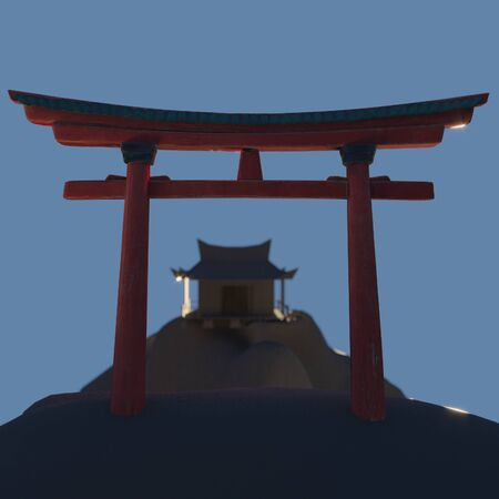 Chinese temple and traditional oriental arch of Torii at night. 3D render. Historical building