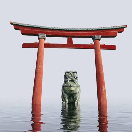 The traditional religious eastern building is the Torii Arch. Ancient sculpture of a lion reflected in the water. 3d render. foo-dog Zdjęcie Seryjne