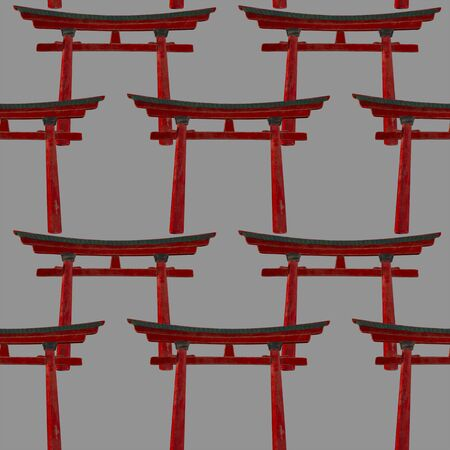 Seamless chinese pattern. Red national arch of Torii on a gray background. Asia