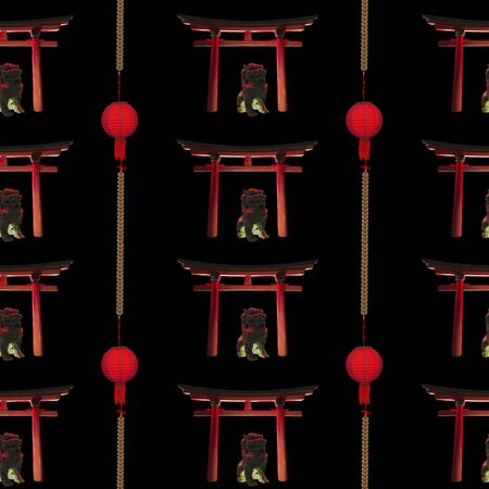 Seamless chinese pattern on black background. Arch and red traditional lantern.