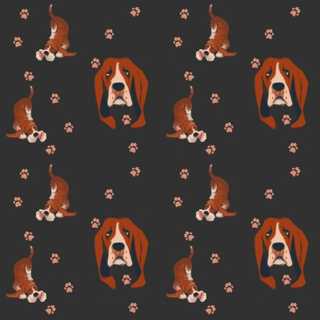 Seamless pattern with hound dogs on a dark blue background. paws