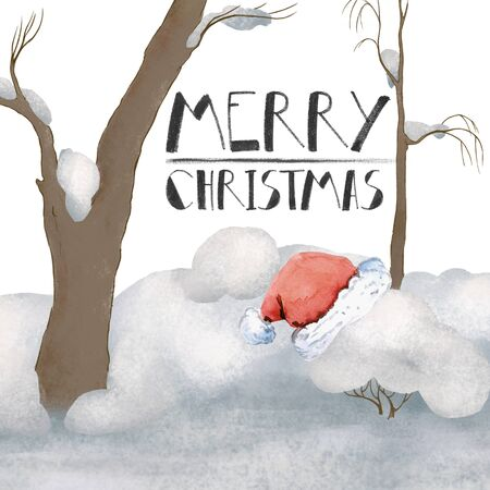 Greeting card Merry Christmas. Lettering and santa claus hat in winter snowy forest. fairy tale Zdjęcie Seryjne