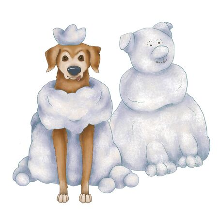 Winter illustration. Snowman and red dog isolated on white background