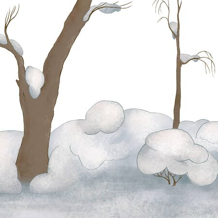 Winter forest landscape. Trees in the snow. Winter fairy tale. White
