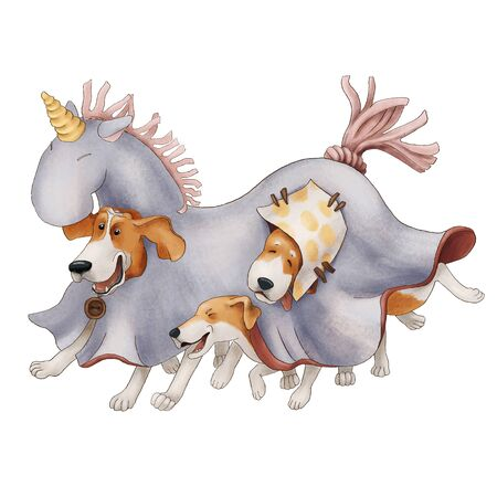 Crazy hound dogs dressed in a unicorn costume. Funny puppies are playing. isolated on a white background. illustration Imagens