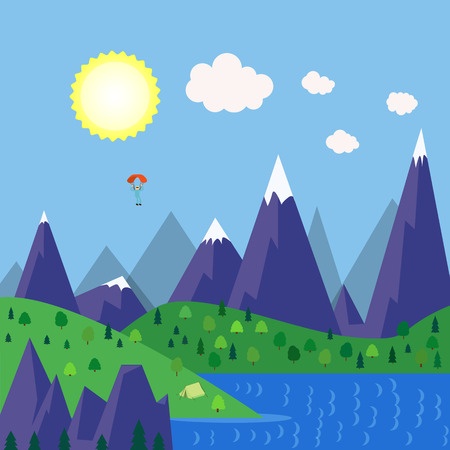 Vector illustration of a campsite in a mountain lake area. Forest camping travel landscape with tent and paraplanerist. Summer camp place. Illustration