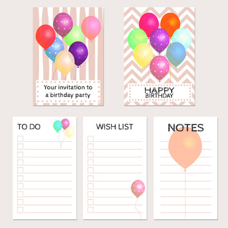 Your invitation to a birthday party. Birthday cards with colorful balloons and place for your text. Invitation, congratulation, to do \ wish lists, and notes.