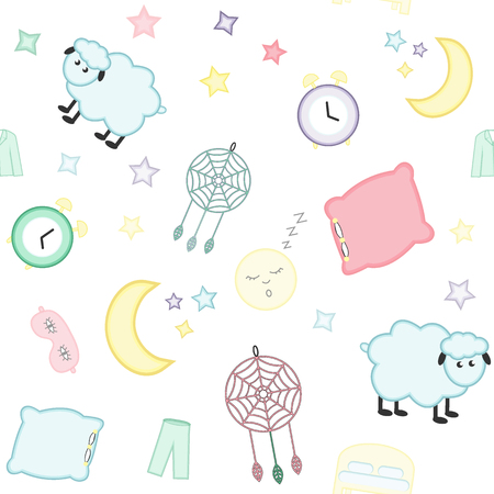 Sleep. Dream. Seamless pattern with moon (crescent) and stars, pillow, alarm clock, sleep mask, pajamas, sheep and dreamcatcher. Can be used for kids, babys shirt design, textile, fashion print design, fashion graphic, pattern fills, little girls, boys and babies clothes and pajamas. Baby shower design.