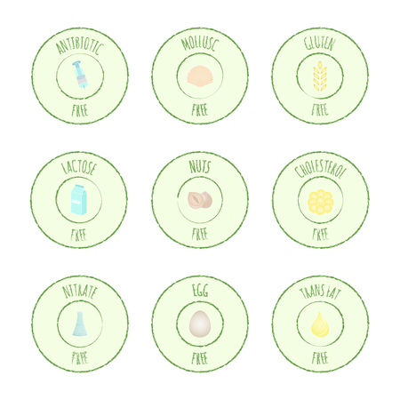 Vector grunge hand drawn collection of icons, intolerance, allergens and harmful food symbols. Set of labels with nutrition: antibiotic, mollusks, gluten, lactose, nuts, cholesterol, nitrate, eggs and trans fat free.