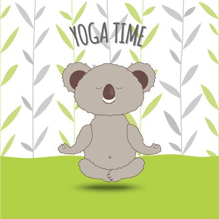 Yoga Time. Cartoon koala soar in lotus pose on bamboo background. Koala Bear Doing Lotus Asana in Yoga. Cute and cozy Vector Illustration, Eps 10.
