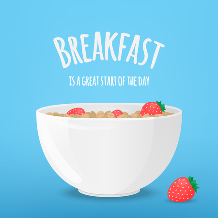 Vector illustration with white bowl, oatmeal and strawberry. Template for poster, web and advertising banner, article about health, business, card or flyer, promotion of healthy products or for design packaging.