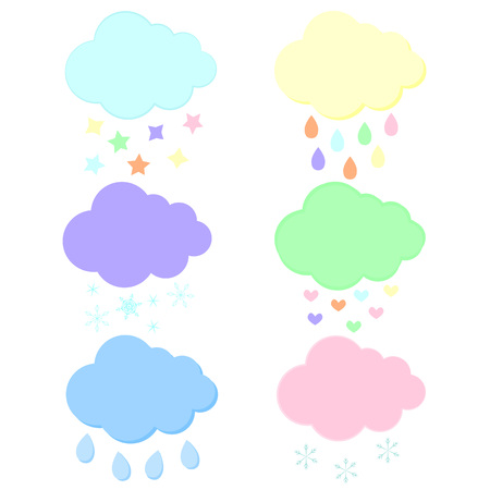 Vector set of various drawn clouds isolated on white background. Иллюстрация