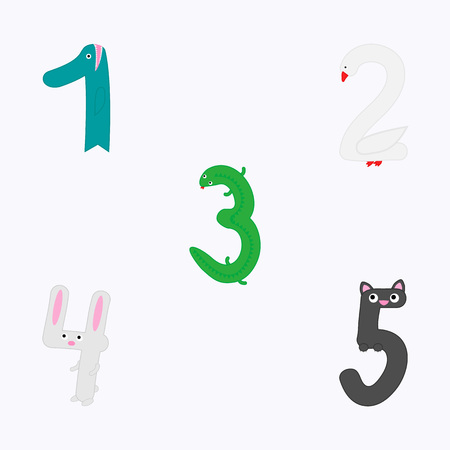 For children studying arithmetics, learning counting, mathematics or for birthday invitation. Иллюстрация