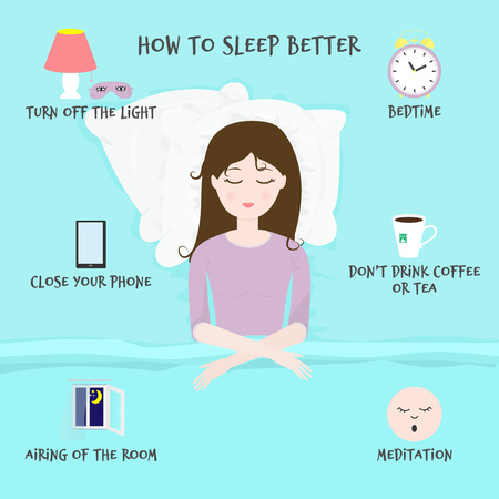 Rules and useful tips for a good night and healthy sleep. For infographic of problem with insomnia. Иллюстрация