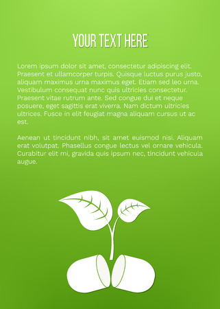 Vector illustration of plant growing from pill. Phyto preparations, herbal treatment,