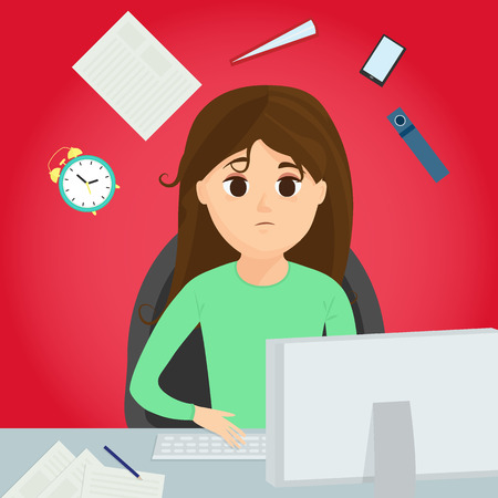 The office worker sits at the desk. Busy girl has stress, professional burnout. Иллюстрация