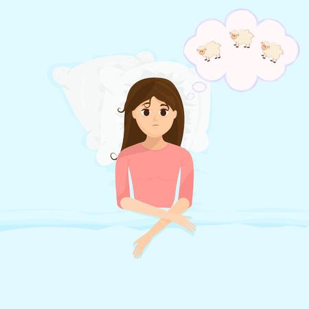 Female insomniac trying to fall asleep. Problem of sleeplessness, nightmares, sleep disorder.