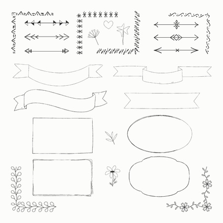 Vector illustration with hand drawn doodle doodle elements: frames, borders, tapes, arrows, flowers isolated on white background. Set for notebook, diary or Bullet journal.