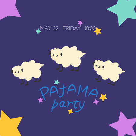 Cozy vector illustration with stars and text Pajama party in bright colors. Sleepover, pajama party Invitation, template inviting for slumber pajama overnight card. Illustration