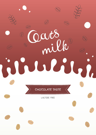 Illustration of oatmeal, wheat ears and splash of milk with place for text. Template for web and advertising banner, article, promotion, design packaging of vegetable milk, porridge, protein bar etc.