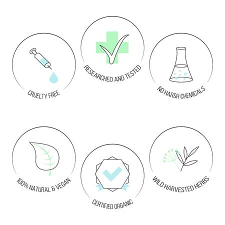 Vector set of icons with linear symbols on white background. Collection of isolated elements for design, cosmetics, medicine, food etc.