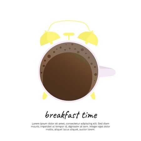 Inscription Breakfast Time white background. For poster, cover, package design, card, web and advertising banner.