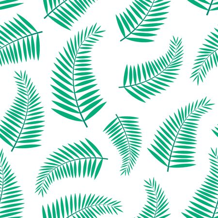 Seamless pattern with tropical leaves of palm on white background.