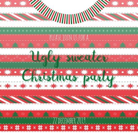 Vector illustration with sweater and text Ugly Sweater Christmas Party in red, white and green colors. Print for greeting cards, scrapbooking album, winter decorations.