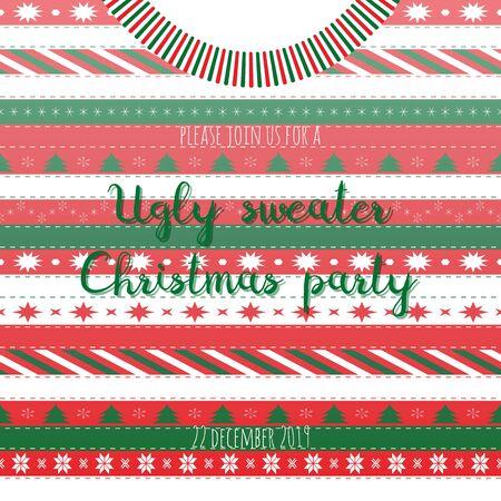 Vektor-Illustration mit Pullover und Text Ugly Sweater Christmas Party in den Farben Rot, Weiß und Grün. Drucken Sie für Grußkarten, Scrapbooking-Album, Winterdekorationen.