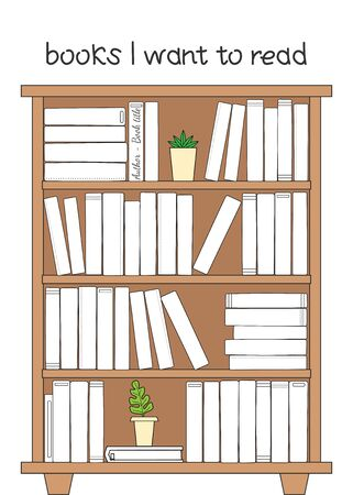 Vector illustration for printable with bookcase on white background. 向量圖像