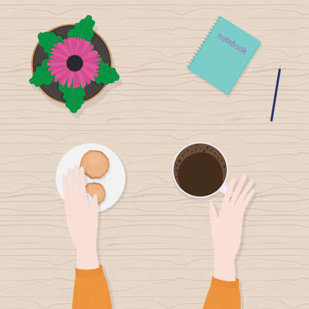 Vector illustration in flat cartoon style of hands, cup of coffee, gerbera in pot, top view.