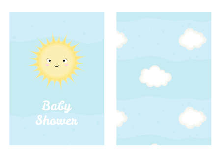Vector illustration with cartoon smiling sun and inscription Baby Shower and seamless pattern with clouds.