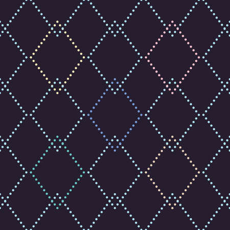 Vector seamless pattern with rhombuses in different colors on dark background. For wallpapers, decoration, invitation, fabric, textile and print, web page background, gift and wrapping paper.