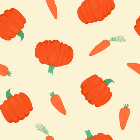 Seamless pattern with bright pumpkins and carrots on white background. For fall decoration, autumn fest invitations, fabric, kitchen textile and halloween print, gift and wrapping paper.