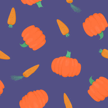 Seamless pattern with bright pumpkins and carrots on purple background. For fall decoration, autumn fest invitations, fabric, kitchen textile and halloween print, gift and wrapping paper.