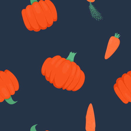 Seamless pattern with bright pumpkins and carrots on dark background. For fall decoration, autumn fest invitations, fabric, kitchen textile and halloween print, gift and wrapping paper.