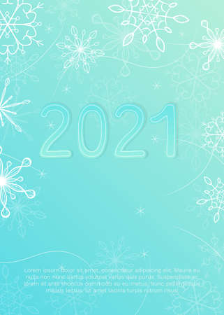 Vector illustration with snowflakes and digits 2021 on blue background. Standard-Bild - 157164437