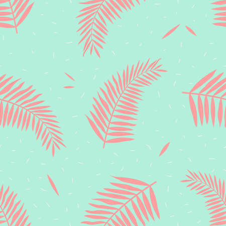 Vector seamless pattern with tropical leaves of palm in bright colors on blue background. 向量圖像